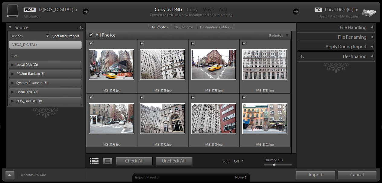 Adobe Lightroom 4 import window