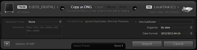 Lightroom minimized import window