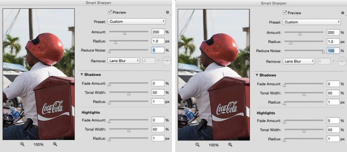 Effect of noise reduction in Photoshop CC's Smart Sharpen filter