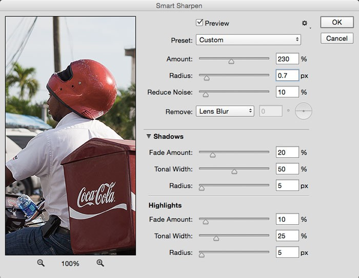 Smart Sharpen controls in Adobe Photoshop CC