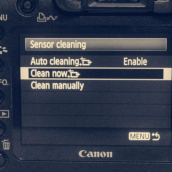 self-cleaning image sensor menu